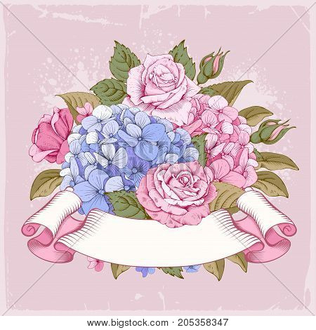 Vintage luxury card with detailed hand drawn flowers - blooming hydrangea rose and retro styled twisted ribbon with space for your text. Vector.