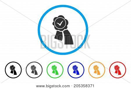 Approved Seal rounded icon. Style is a flat approved seal gray symbol inside light blue circle with black, gray, green, blue, red, orange variants. Vector designed for web and software interfaces.