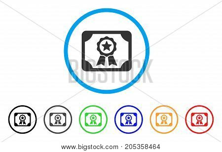 Authorize Diploma rounded icon. Style is a flat authorize diploma grey symbol inside light blue circle with black, gray, green, blue, red, orange color versions.