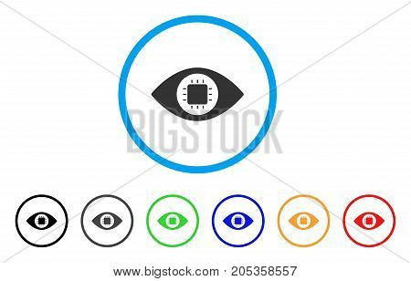 Bionic Eye Circuit rounded icon. Style is a flat bionic eye circuit grey symbol inside light blue circle with black, gray, green, blue, red, orange versions.