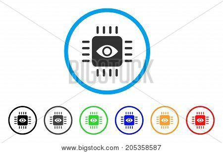 Bionic Eye Processor rounded icon. Style is a flat bionic eye processor grey symbol inside light blue circle with black, gray, green, blue, red, orange variants.