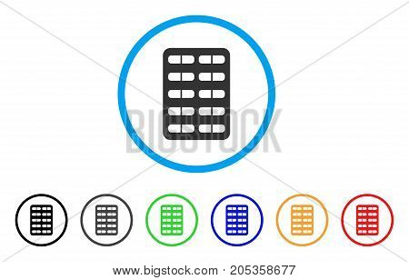 Blister rounded icon. Style is a flat blister grey symbol inside light blue circle with black, gray, green, blue, red, orange versions. Vector designed for web and software interfaces.