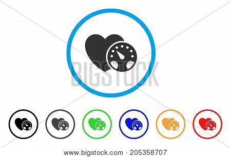 Blood Pressure rounded icon. Style is a flat blood pressure grey symbol inside light blue circle with black, gray, green, blue, red, orange versions. Vector designed for web and software interfaces.