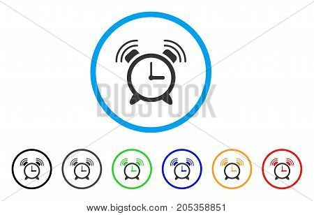 Buzzer rounded icon. Style is a flat buzzer gray symbol inside light blue circle with black, gray, green, blue, red, orange color versions. Vector designed for web and software interfaces.