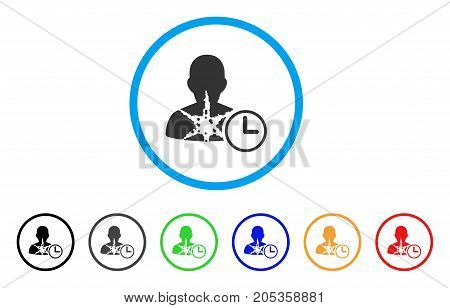 Cancer Patient Time rounded icon. Style is a flat cancer patient time grey symbol inside light blue circle with black, gray, green, blue, red, orange variants.