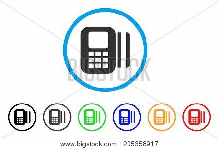 Card Reader rounded icon. Style is a flat card reader grey symbol inside light blue circle with black, gray, green, blue, red, orange versions. Vector designed for web and software interfaces.