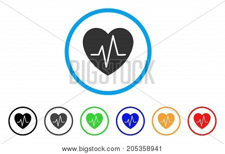 Cardiology Heart Pulse rounded icon. Style is a flat cardiology heart pulse grey symbol inside light blue circle with black, gray, green, blue, red, orange variants.