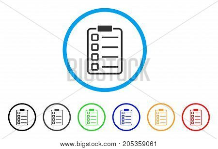 Checklist Pad rounded icon. Style is a flat checklist pad gray symbol inside light blue circle with black, gray, green, blue, red, orange variants. Vector designed for web and software interfaces.