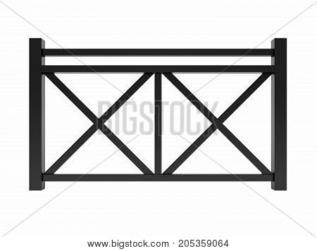 Black metal design railing 3d render model