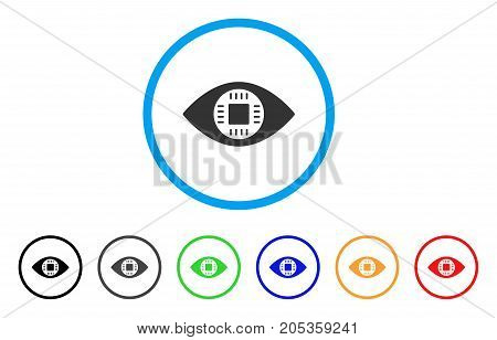 Chip Eye Lens rounded icon. Style is a flat chip eye lens grey symbol inside light blue circle with black, gray, green, blue, red, orange variants. Vector designed for web and software interfaces.