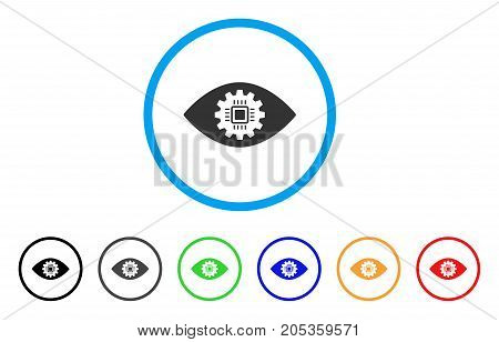 Cyborg Eye Lens rounded icon. Style is a flat cyborg eye lens gray symbol inside light blue circle with black, gray, green, blue, red, orange versions. Vector designed for web and software interfaces.