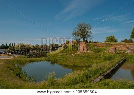 vordingborg castle ruins with moat in Denmark