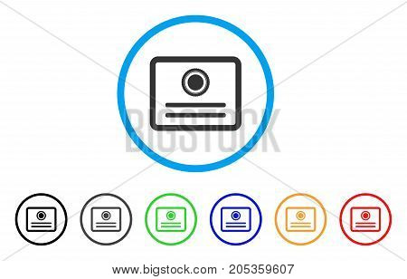 Diploma rounded icon. Style is a flat diploma grey symbol inside light blue circle with black, gray, green, blue, red, orange color versions. Vector designed for web and software interfaces.