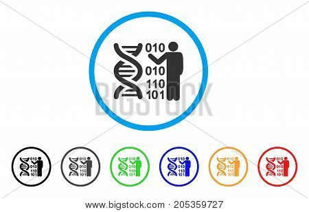 DNA Research rounded icon. Style is a flat dna research gray symbol inside light blue circle with black, gray, green, blue, red, orange variants. Vector designed for web and software interfaces.