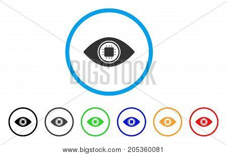 Electronic Eye Lens rounded icon. Style is a flat electronic eye lens gray symbol inside light blue circle with black, gray, green, blue, red, orange variants.