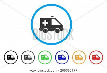 Emergency Car rounded icon. Style is a flat emergency car grey symbol inside light blue circle with black, gray, green, blue, red, orange versions. Vector designed for web and software interfaces.