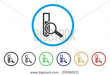 Explore Test-Tube rounded icon. Style is a flat explore test-tube gray symbol inside light blue circle with black, gray, green, blue, red, orange color versions.