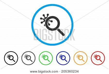 Explore Virus rounded icon. Style is a flat explore virus gray symbol inside light blue circle with black, gray, green, blue, red, orange color versions.
