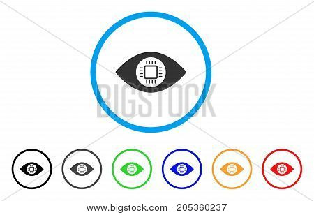 Eye Lens Processor rounded icon. Style is a flat eye lens processor grey symbol inside light blue circle with black, gray, green, blue, red, orange variants.