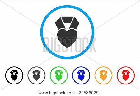 Favorite Heart Award rounded icon. Style is a flat favorite heart award grey symbol inside light blue circle with black, gray, green, blue, red, orange versions.