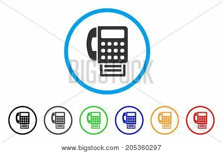 Fax Machine rounded icon. Style is a flat fax machine gray symbol inside light blue circle with black, gray, green, blue, red, orange color versions. Vector designed for web and software interfaces.