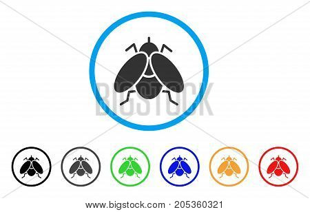 Fly Insect rounded icon. Style is a flat fly insect gray symbol inside light blue circle with black, gray, green, blue, red, orange variants. Vector designed for web and software interfaces.