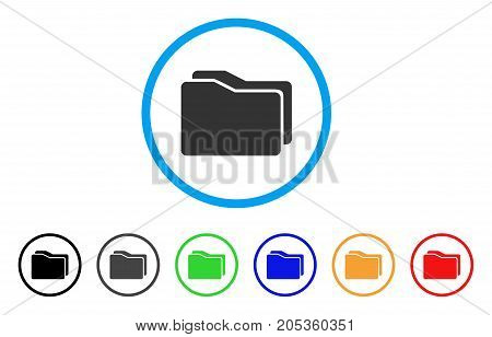 Folders rounded icon. Style is a flat folders grey symbol inside light blue circle with black, gray, green, blue, red, orange versions. Vector designed for web and software interfaces.