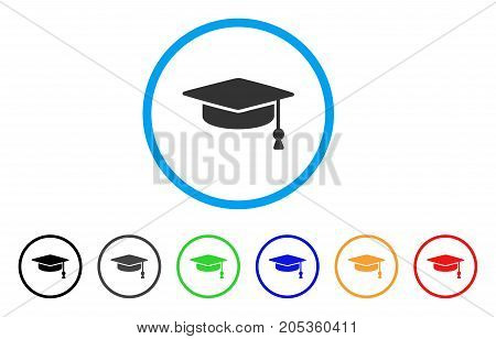 Graduation Cap rounded icon. Style is a flat graduation cap grey symbol inside light blue circle with black, gray, green, blue, red, orange variants. Vector designed for web and software interfaces.