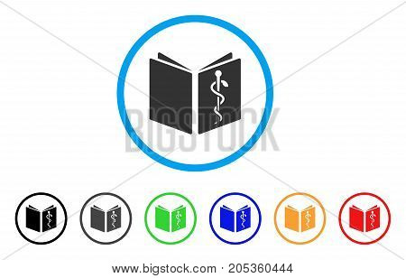 Healthcare Book rounded icon. Style is a flat healthcare book grey symbol inside light blue circle with black, gray, green, blue, red, orange versions. Vector designed for web and software interfaces.