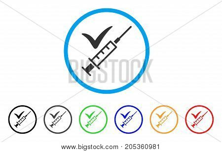 Injection rounded icon. Style is a flat injection gray symbol inside light blue circle with black, gray, green, blue, red, orange color versions. Vector designed for web and software interfaces.