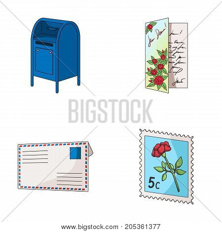 Mailbox, congratulatory card, postage stamp, envelope.Mail and postman set collection icons in cartoon style vector symbol stock illustration .