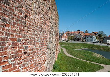 castle wall at Vordingborg castle ruins in Denmark