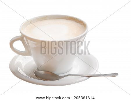 Cappuccino froth on a cappuccino in a cup on a white background