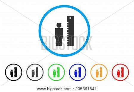 Man Height rounded icon. Style is a flat man height grey symbol inside light blue circle with black, gray, green, blue, red, orange variants. Vector designed for web and software interfaces.