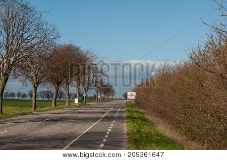 koebenhavnsvej road near town of Vordingborg in Denmark