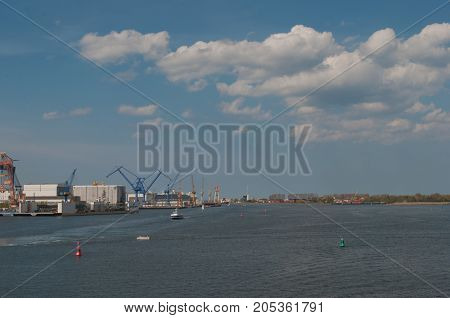 Rostock harbor in Germany on a sunny day