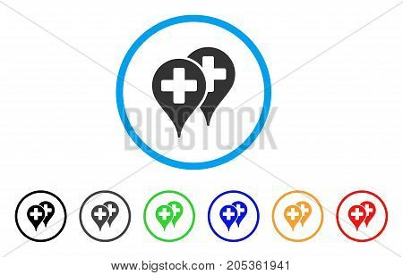 Medical Map Markers rounded icon. Style is a flat medical map markers grey symbol inside light blue circle with black, gray, green, blue, red, orange variants.