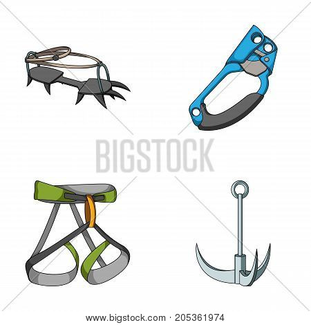 Hook, mountaineer harness, insurance and other equipment.Mountaineering set collection icons in cartoon style vector symbol stock illustration .