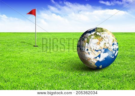 Earth as ball on green golf field, concept