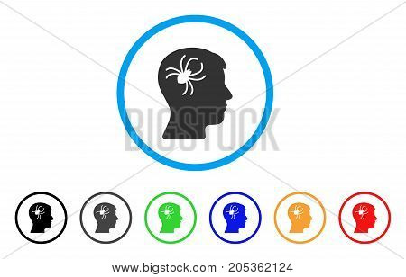 Mental Parasite Spider rounded icon. Style is a flat mental parasite spider gray symbol inside light blue circle with black, gray, green, blue, red, orange variants.