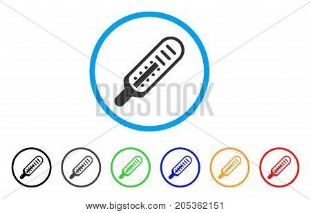 Mercury Thermometer rounded icon. Style is a flat mercury thermometer grey symbol inside light blue circle with black, gray, green, blue, red, orange versions.