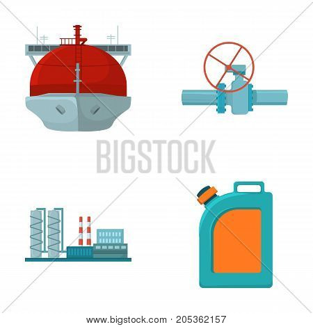 Tanker, pipe stop, oil refinery, canister with gasoline. Oil industry set collection icons in cartoon style vector symbol stock illustration .
