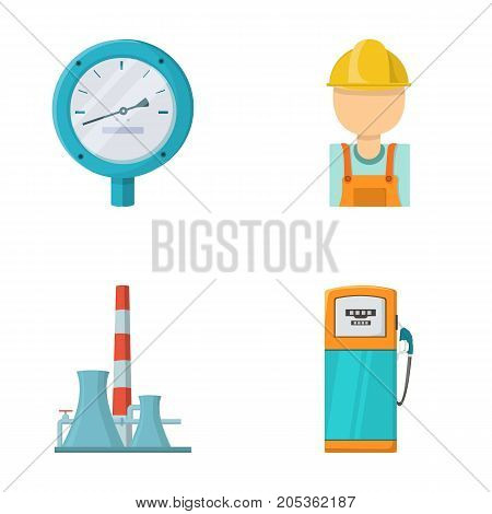 Manometer, worker oilman, fuel refueling, oil factory. Oil industry set collection icons in cartoon style vector symbol stock illustration .
