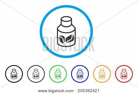 Natural Drugs rounded icon. Style is a flat natural drugs grey symbol inside light blue circle with black, gray, green, blue, red, orange versions. Vector designed for web and software interfaces.