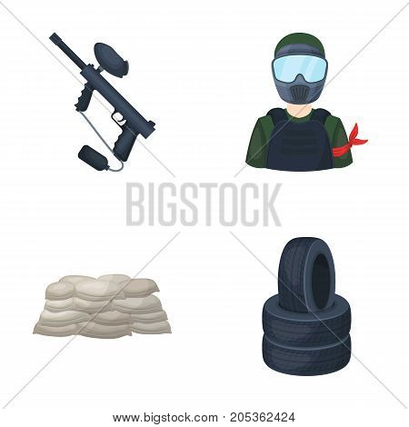 Paintball marker, player and other accessories. Paintball single icon in cartoon style vector symbol stock illustration .