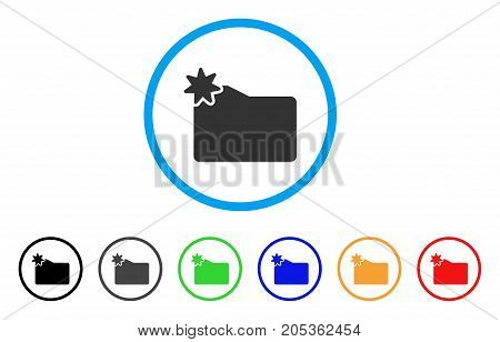 New Folder rounded icon. Style is a flat new folder gray symbol inside light blue circle with black, gray, green, blue, red, orange variants. Vector designed for web and software interfaces.