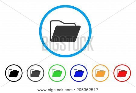 Open Folder rounded icon. Style is a flat open folder gray symbol inside light blue circle with black, gray, green, blue, red, orange color versions. Vector designed for web and software interfaces.