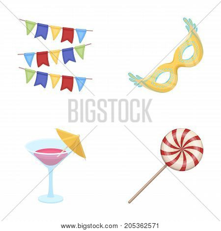 Garlands, cocktail and other accessories at the party.Party and partits set collection icons in cartoon style vector symbol stock illustration .