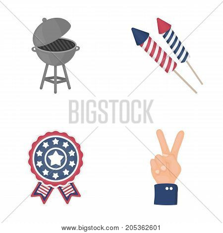 Barbecue, salute, voting ebblema, victory. The patriot's day set collection icons in cartoon style vector symbol stock illustration .