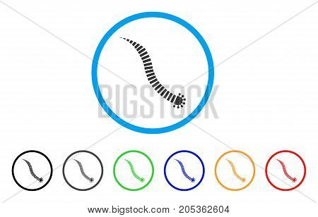 Parasite Worm rounded icon. Style is a flat parasite worm gray symbol inside light blue circle with black, gray, green, blue, red, orange versions. Vector designed for web and software interfaces.